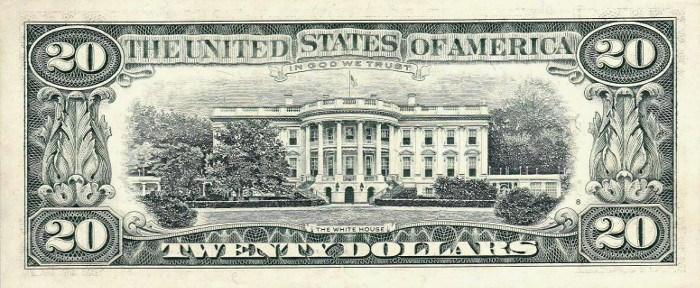 1990 20 Dollar Bill Reverse