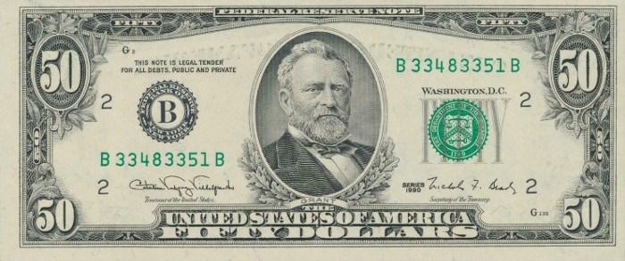 1990 50 Dollar Bill