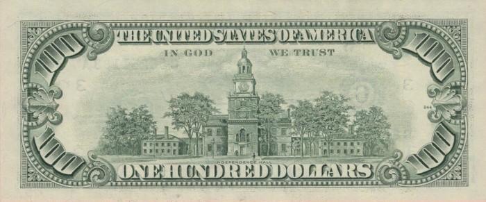 1990 Series 100 Dollar Bill Reverse