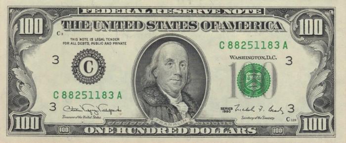 1990 Series 100 Dollar Bill