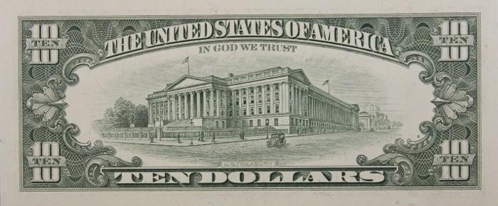 1993 10 Dollar Bill Reverse
