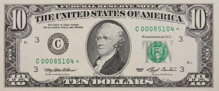1993 10 Dollar Bill