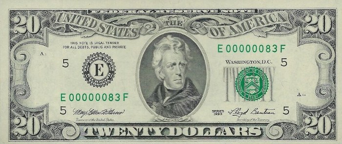 1993 20 Dollar Bill