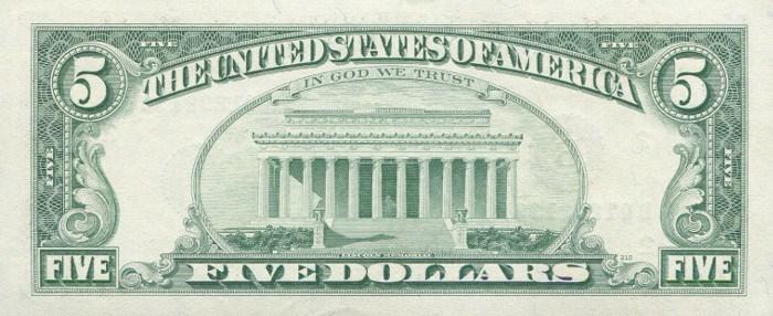 1993 5 Dollar Bill Reverse