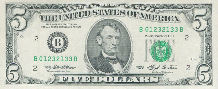 1993 5 Dollar Bill