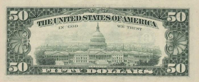 1993 50 Dollar Bill Reverse