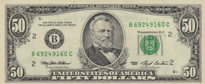 1993 50 Dollar Bill