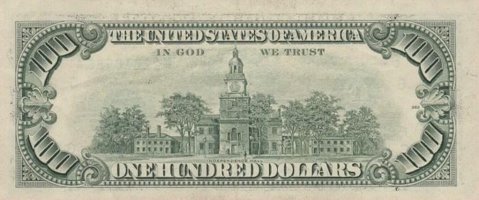 1993 Series 100 Dollar Bill Reverse