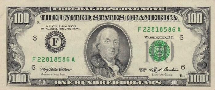 1993 Series 100 Dollar Bill