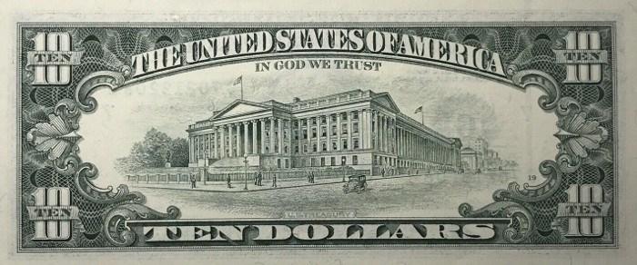 1995 10 Dollar Bill Reverse