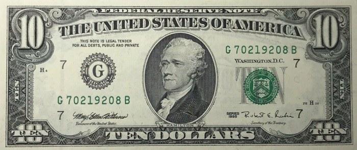 1995 10 Dollar Bill
