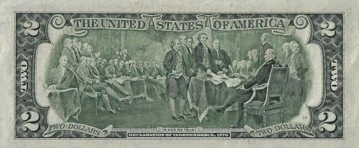 1995 2 Dollar Bill Reverse