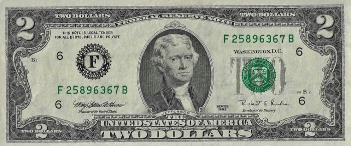 1995 2 Dollar Bill