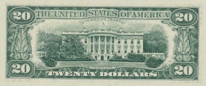 1995 20 Dollar Bill Reverse