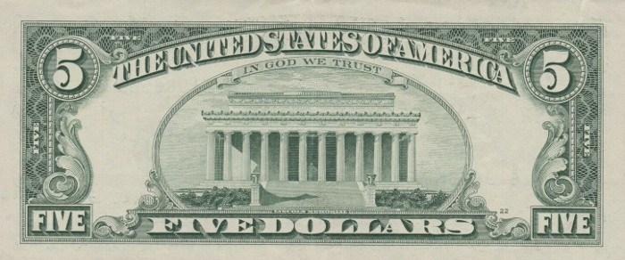 1995 5 Dollar Bill Reverse
