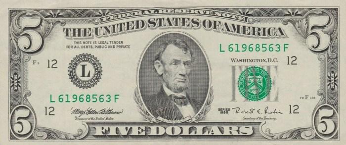 1995 5 Dollar Bill
