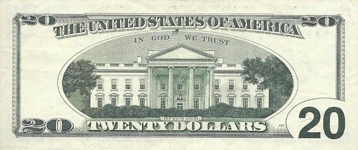 1996 20 Dollar Bill Reverse