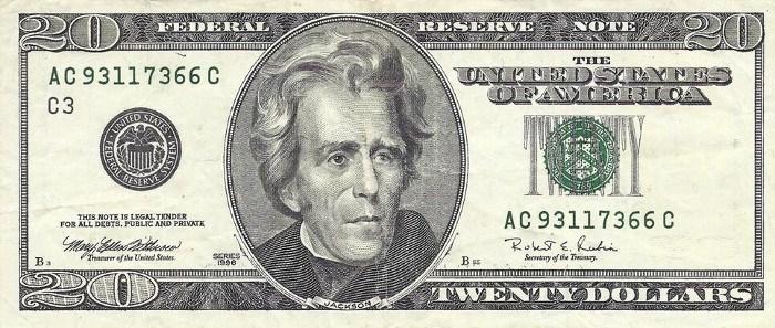1996 20 Dollar Bill