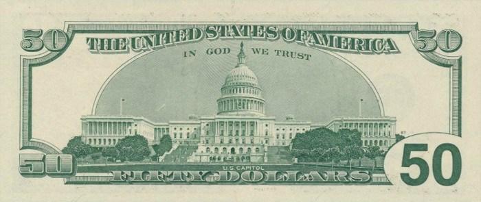 1996 50 Dollar Bill Reverse
