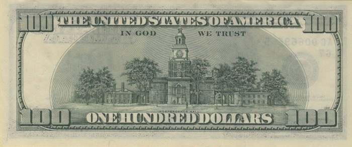 1996 Series 100 Dollar Bill Reverse