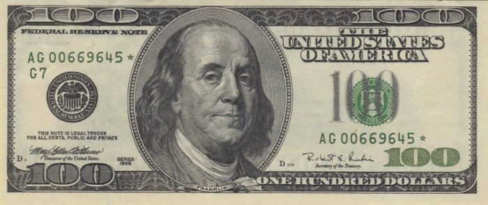 1996 Series 100 Dollar Bill