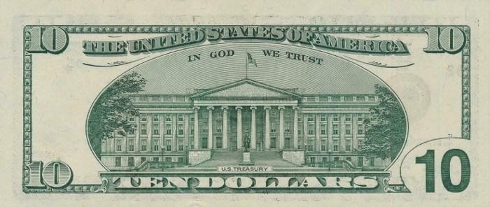 1999 10 Dollar Bill Reverse