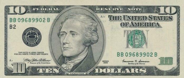 1999 10 Dollar Bill
