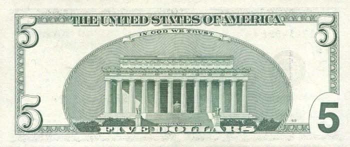 1999 5 Dollar Bill Reverse