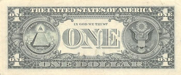 1999 One Dollar Bill Reverse