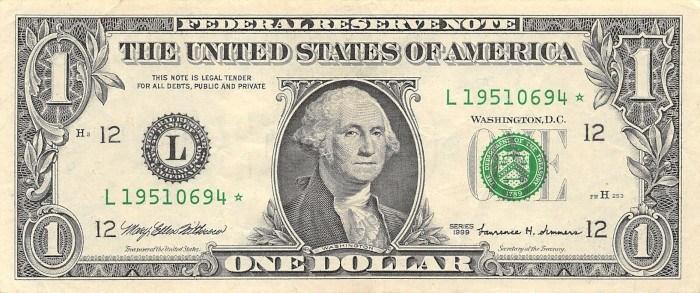 1999 One Dollar Bill