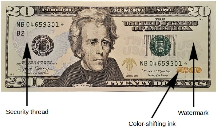 20 Dollar Bill Security Features