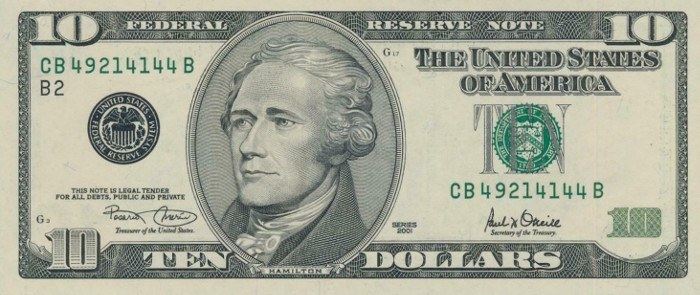 2001 10 Dollar Bill