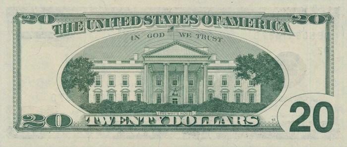 2001 20 Dollar Bill Reverse