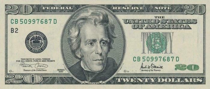 2001 20 Dollar Bill