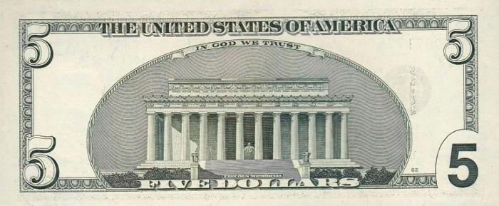 2001 5 Dollar Bill Reverse