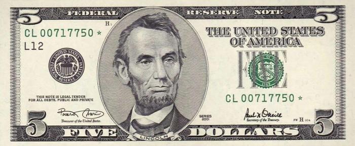 2001 5 Dollar Bill