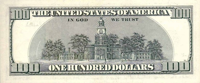 2001 Series 100 Dollar Bill Reverse