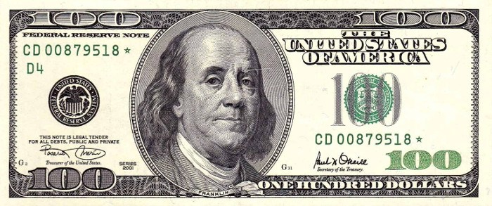 2001 Series 100 Dollar Bill
