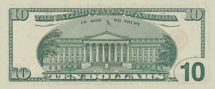 2003 10 Dollar Bill Reverse