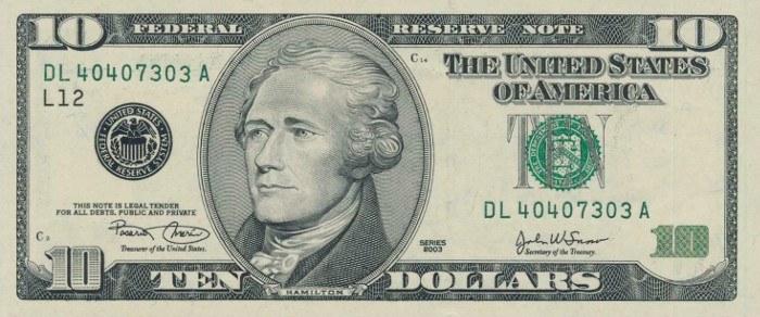 2003 10 Dollar Bill