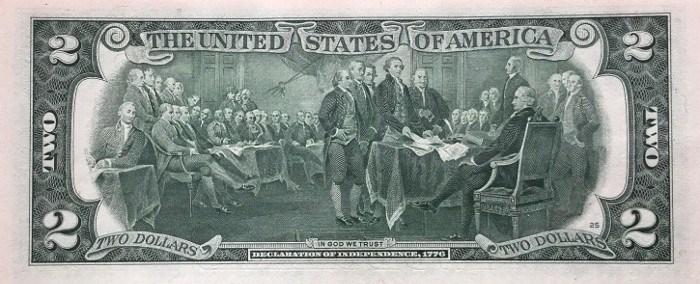 2003 2 Dollar Bill Reverse