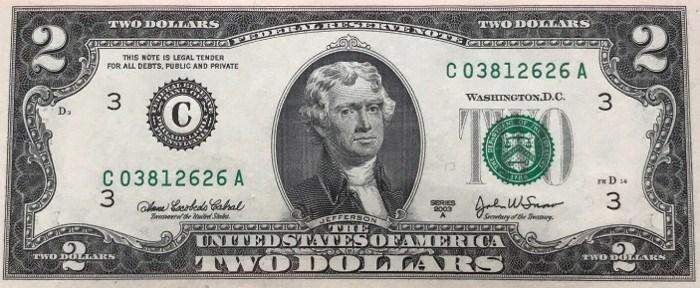 2003 2 Dollar Bill