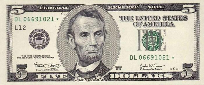 2003 5 Dollar Bill