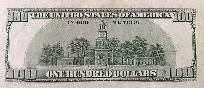 2003 Series 100 Dollar Bill Reverse