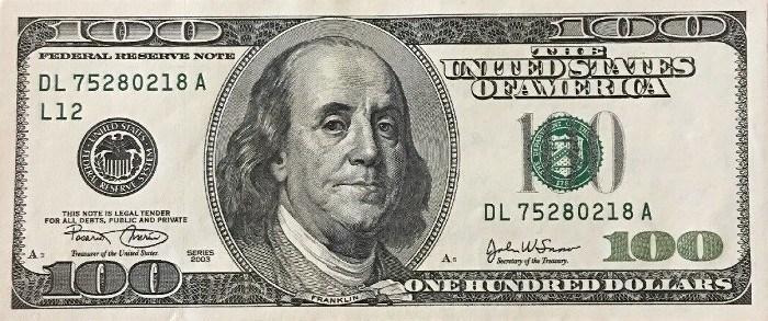 2003 Series 100 Dollar Bill
