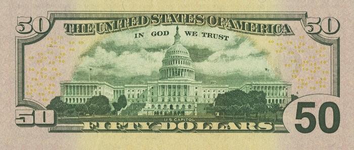 2004 50 Dollar Bill Reverse