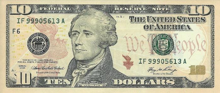 2006 10 Dollar Bill