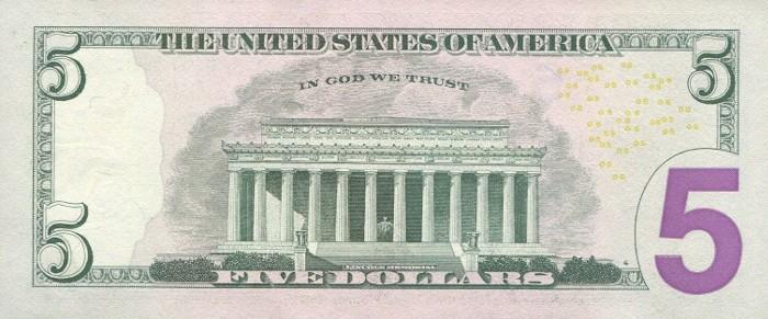 2006 5 Dollar Bill Reverse