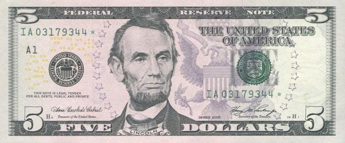 2006 5 Dollar Bill