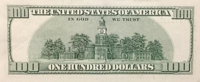 2006 Series 100 Dollar Bill Reverse